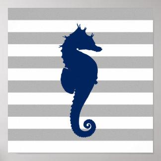 Marine-Blau-Seepferd-graue und weiße Streifen Poster