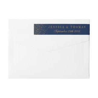 Marine-Blau u. bezaubernde Goldconfetti-Hochzeit