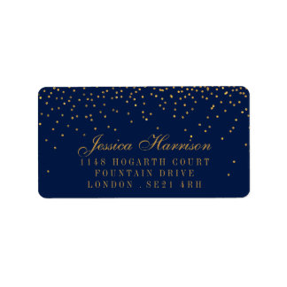 Marine-Blau u. bezaubernde Goldconfetti-Hochzeit Adressaufkleber