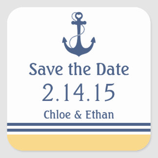 Marine-Blau und gelbes See Save the Date Quadratischer Aufkleber
