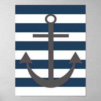Marine-Blau-und Grau-Anker-Kinderzimmer-Druck Poster