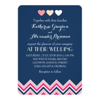 Marine-Blau und rosa Zickzack 12,7 X 17,8 Cm Einladungskarte