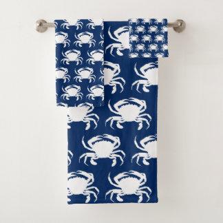 Marine-Blau-und Weiß-Krabben Badhandtuch Set