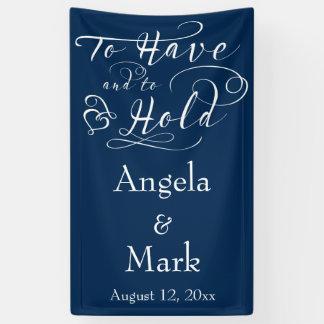 Marine-Blau-weiße personalisierte Hochzeits-Fahne Banner