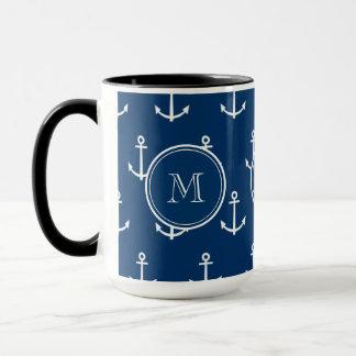 Marine-Blau-weißes Anker-Muster, Ihr Monogramm Tasse
