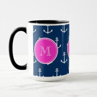 Marine-Blau-weißes Anker-Muster, Pink-Monogramm Tasse