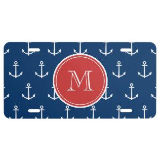 Marine-Blau-weißes Anker-Muster, rotes Monogramm US Nummernschild