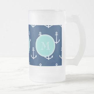Marine-Blau-weißes Anker-Muster, tadelloses grünes Matte Glastasse