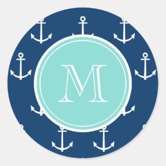 Marine-Blau-weißes Anker-Muster, tadelloses grünes Runder Aufkleber