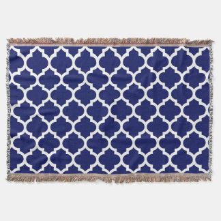 Marine-Blau-weißes Marokkaner Quatrefoil Muster #5 Decke