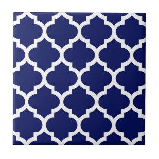 Marine-Blau-weißes Marokkaner Quatrefoil Muster #5 Kleine Quadratische Fliese