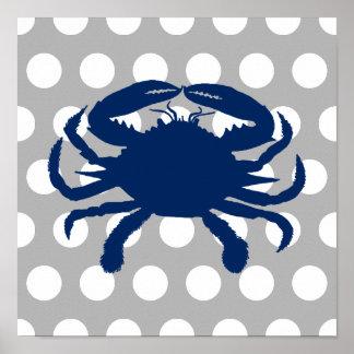 Marine-blaue Krabben-graue und weiße Tupfen Poster