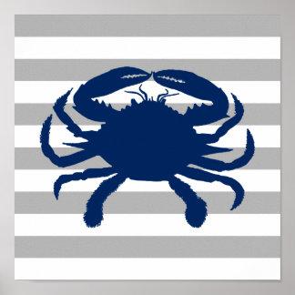 Marine-blaue Krabben-grauer und weißer Streifen Poster