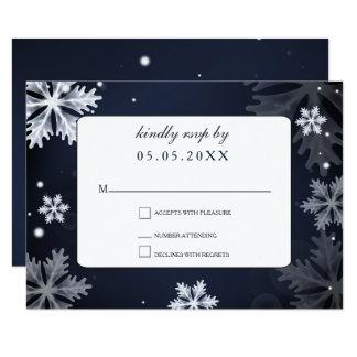 Marine-Blauschneeflockewinter-Hochzeits-uAwg 8,9 X 12,7 Cm Einladungskarte