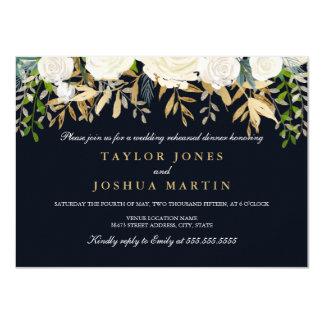 Marine-Goldladen blumenProben-Abendessen ein 11,4 X 15,9 Cm Einladungskarte