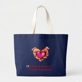 Marine-riesige Tasche, Herz mit den Händen, YACF Jumbo Stoffbeutel