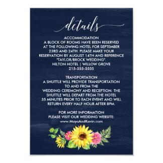 Marine-Sonnenblume-Hochzeits-Details Karte