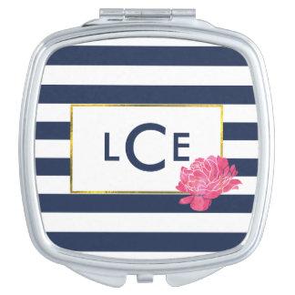 Marine-Streifen u. rosa Taschenspiegel