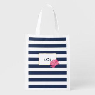 Marine-Streifen u. rosa Wiederverwendbare Einkaufstaschen
