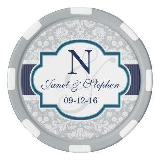 Marine, Türkis, graue Damast-Hochzeit Poker Chip Set