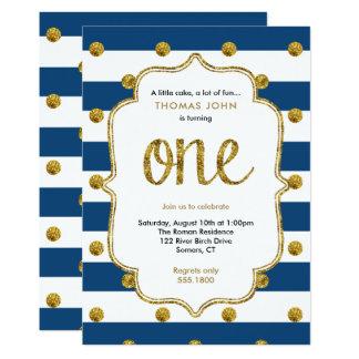 Marine-und GoldGlitter-erste Geburtstags-Einladung 12,7 X 17,8 Cm Einladungskarte