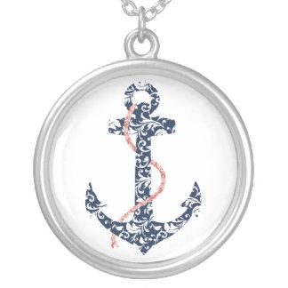 Marine-und Korallen-Anker-Strand-Hochzeit Halskette Mit Rundem Anhänger