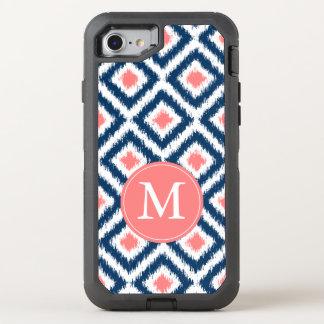 Marine und korallenrotes Ikat Muster mit Monogramm OtterBox Defender iPhone 8/7 Hülle