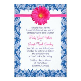 Marine und rosa Gänseblümchen-Hochzeits-Einladung 12,7 X 17,8 Cm Einladungskarte