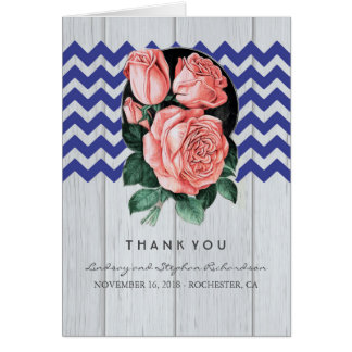 Marine und rosa Hochzeit danken Ihnen Karten