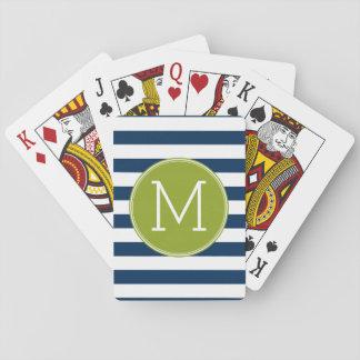 Marine und weißes gestreiftes spielkarten