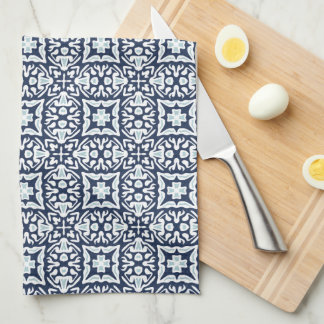 Marine und weißes spanisches Fliesen-Muster Küchentuch