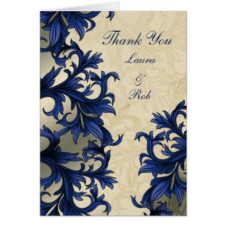 Marineblau Eleganzhochzeit danke Karten