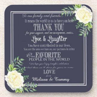 Marineblau Gastgeschenke Hochzeit dankt Ihnen Getränke Untersetzer