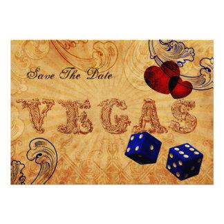 Marineblauwürfel Vintager Vegas Save the Date Ankündigungskarten