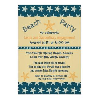 Marinestarfish-Strand - Party der Verlobungs-3x5 Karte