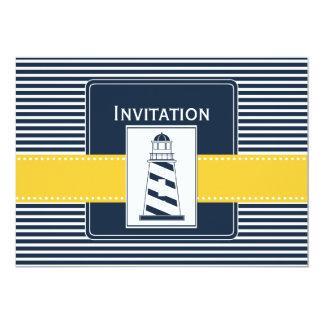 Marinestreifen, Leuchtturm, Seehochzeit lädt ein Personalisierte Ankündigungskarten