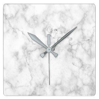 Marmorbeschaffenheit des weißen und grauen Imitats Quadratische Wanduhr