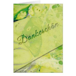 Marmorierte Dankeschön-Karte, grün-gelb