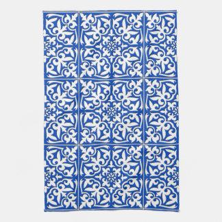 Marokkanische Fliese - Kobaltblau und -WEISS Handtuch