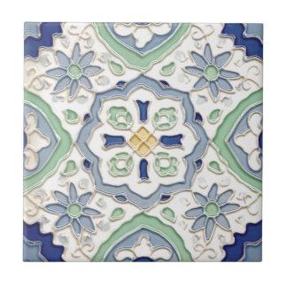 Marokkanische grüne und Blaupause Kleine Quadratische Fliese