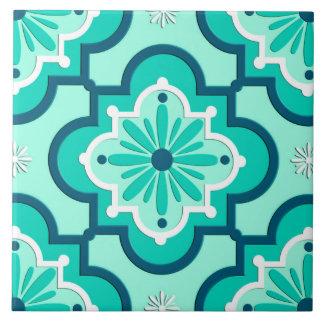 Marokkanisches Fliesen-Muster, Aqua und Türkis Große Quadratische Fliese