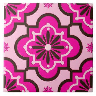 Marokkanisches Fliesen-Muster, pinkfarbenes rosa Große Quadratische Fliese