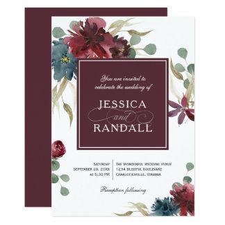 Marsala Red and Navy Floral Wedding Invitation