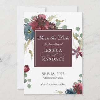 Marsala Red and Navy Floral Wedding Save the Date