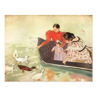 Mary Cassatt-, der die Enten füttert Postkarte