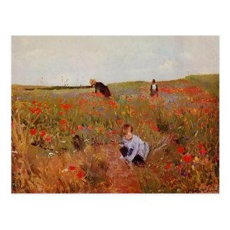 Mary Cassatt: Rote Mohnblumen Postkarte