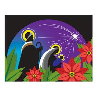 Mary und Joseph mit Jesus und Poinsettias Postkarte