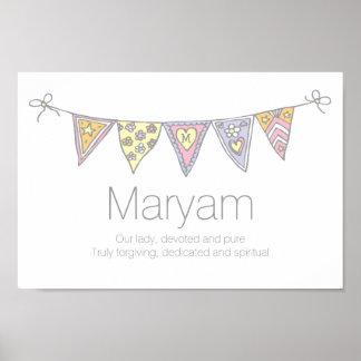 Maryam Mädchen Name und Bedeutungsflaggenplakat Poster