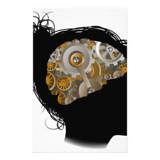 Maschinen-Funktions-Gang-Zahn-Gehirn-Frau Individuelle Druckpapiere