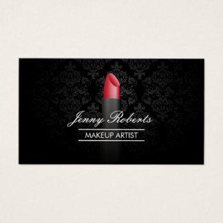 Maskenbildner-roter Lippenstift-eleganter Damast Visitenkarte